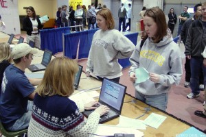Thousands of donors pass through the checkpoints every day.