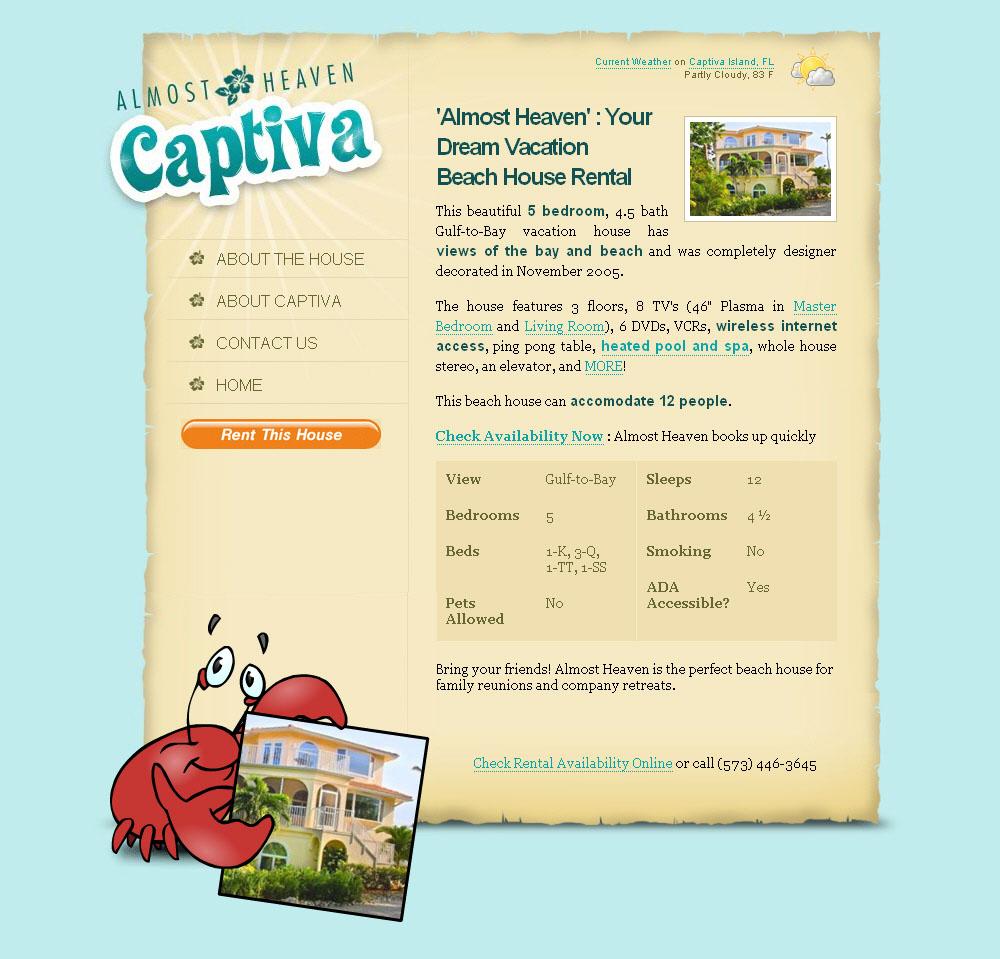 Almost Heaven 2010 luxury captiva island beach house rental website goes live