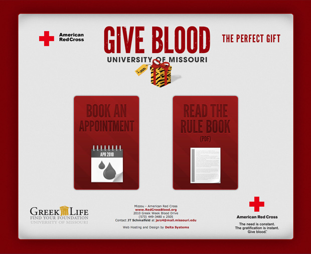 American Red Cross MU Blood Drive Webpage