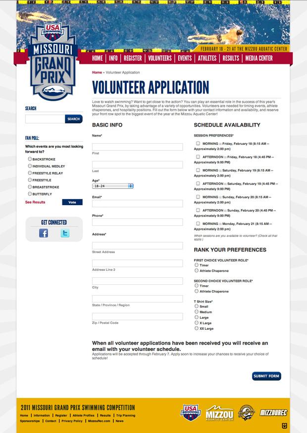 Missouri Grand Prix Custom Web Form