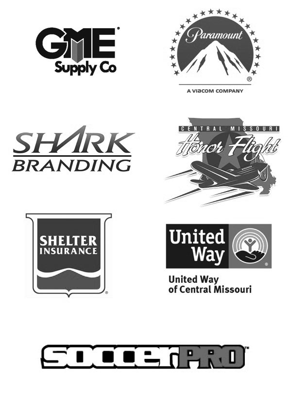 GME Supply, Paramount, Shark Branding, Honor Flight, Shelter Insurance, United Way, SoccerPro