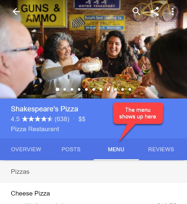 Add Restaurant Menu To Search Results & Knowledge Panel