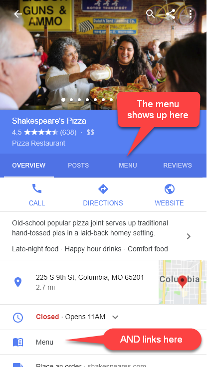 Example of restaurant menu included in knowledge panel using schema.org