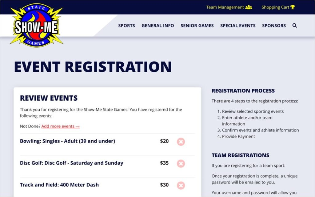 Show-Me State Games online event registration screens