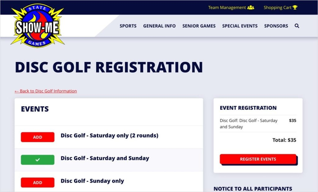 Show-Me State Games online event registration selection screens