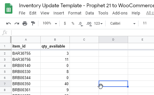 WooCommerce-Prophet-21-Inventory-match-synch-update-google-sheet-prophet-21-inventory-sku-export